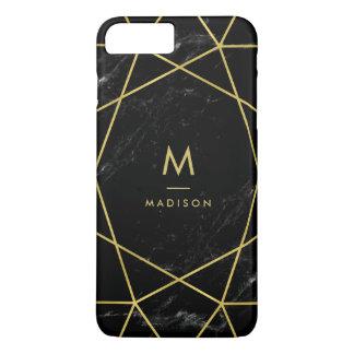 Mirada de mármol negra con el modelo geométrico funda iPhone 7 plus