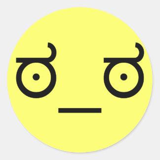 mirada del ಠ_ಠ de la cara divertida del arte del pegatina redonda