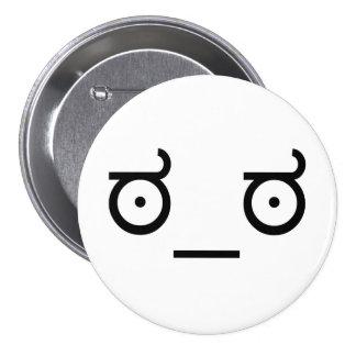 mirada del ಠ_ಠ del arte del texto del Emoticon de Pin Redondo De 3 Pulgadas