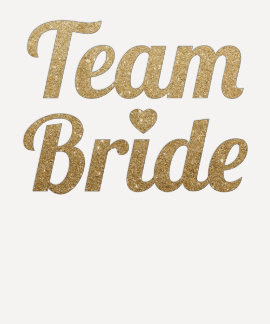Mirada del brillo del oro de la novia del equipo remera