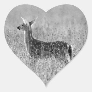 Mirada del cervatillo pegatina en forma de corazón