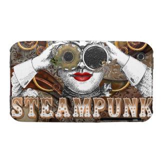 mirada del collage steampunked del steampunk con Case-Mate iPhone 3 protector