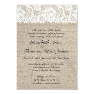 Mirada del cordón del vintage y invitación del invitación 12,7 x 17,8 cm