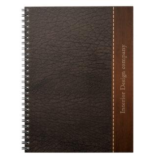 Mirada del cuero de Brown Libro De Apuntes Con Espiral