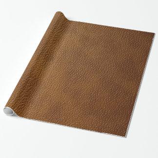 Mirada del cuero de Brown Papel De Regalo