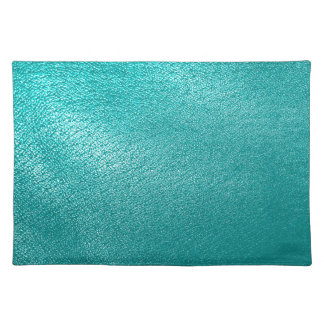 Mirada del cuero de la turquesa manteles individuales