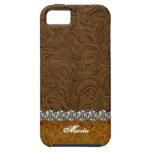 Mirada del cuero del vaquero del diamante artifici iPhone 5 cobertura