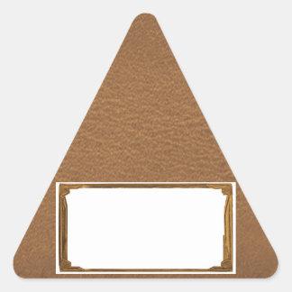 Mirada del cuero del vintage - escriba en el pegatina triangular