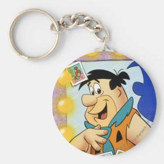Mirada del Flintstone de Fred en espejo Llavero Redondo Tipo Pin