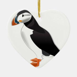 Mirada del frailecillo atlántico adelante al amor adorno de cerámica en forma de corazón
