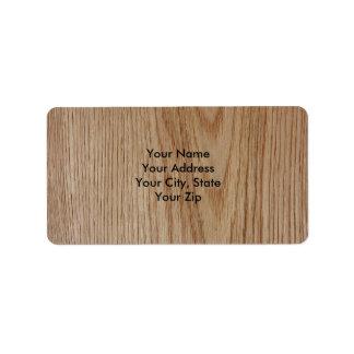 Mirada del grano de madera de roble etiqueta de dirección
