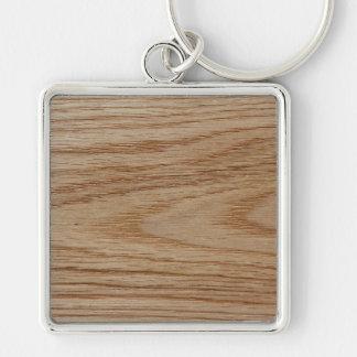 Mirada del grano de madera de roble llavero cuadrado plateado