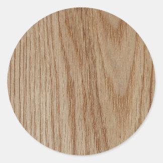 Mirada del grano de madera de roble pegatina redonda