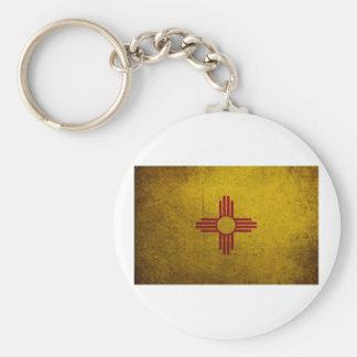 Mirada del Grunge de la bandera de New México Llavero