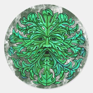 Mirada del hombre verde pegatina redonda