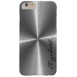 Mirada del metal del acero inoxidable del cromo funda para iPhone 6 plus barely there