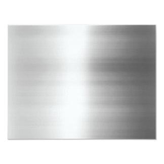 """Mirada del metal del acero inoxidable invitación 4.25"""" x 5.5"""""""