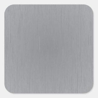 Mirada del metal plateado pegatina cuadrada