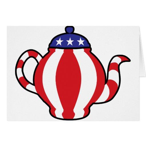Mirada del símbolo 3D de la fiesta del té Tarjeta