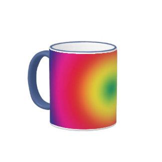 Mirada del teñido anudado de la diana del arco iri taza de café