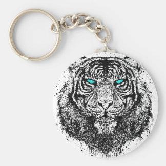 Mirada del tigre llavero redondo tipo pin