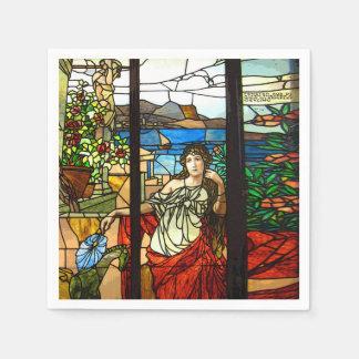 Mirada del vitral con la sentada de la señora servilletas desechables