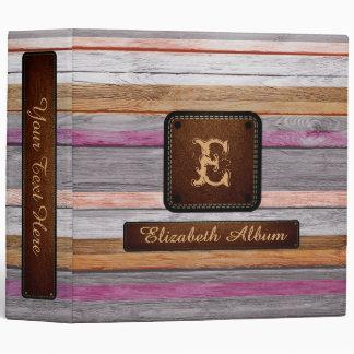 """Mirada elegante de madera #3 del cuero del álbum carpeta 2"""""""