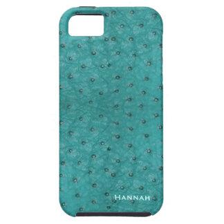 Mirada elegante del cuero de la avestruz de la funda para iPhone 5 tough