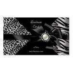 Mirada elegante del diamante negro del leopardo de plantillas de tarjetas de visita