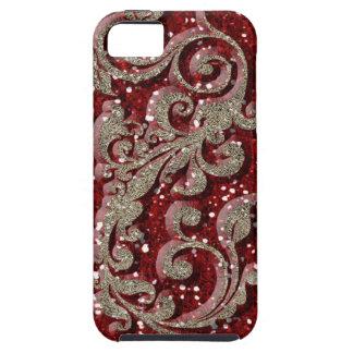 Mirada festiva roja salvaje del brillo funda para iPhone SE/5/5s