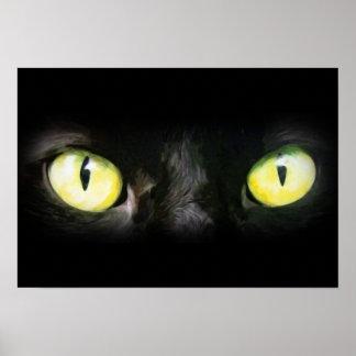 Mirada fija de los ojos de gato, del negro y del a impresiones