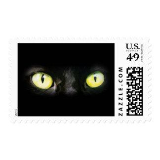 Mirada fija de los ojos de gato, del negro y del timbres postales