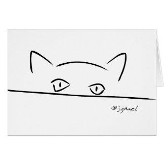Mirada fija del gato tarjeta de felicitación