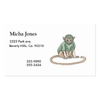 Mirada fija del mono tarjetas de visita