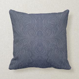 Mirada floral Azul-Gris del ante de Monotones Cojín