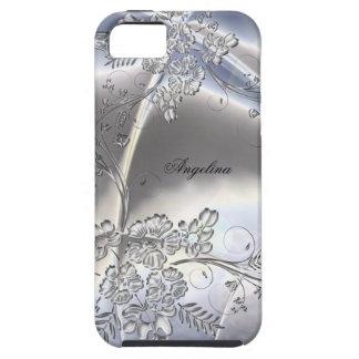 mirada floral del metal plateado con clase elegant iPhone 5 coberturas