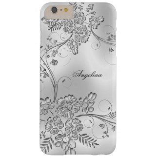 Mirada floral del metal plateado con clase funda de iPhone 6 plus barely there