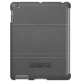 Mirada gastada gris clara de la imitación de cuero funda para iPad