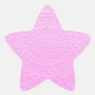 Mirada grabada de seda rosada Añada el texto o la Calcomanías Forma De Estrella