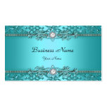 Mirada grabada en relieve damasco azul elegante de plantillas de tarjetas de visita