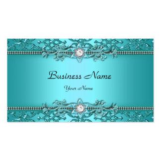 Mirada grabada en relieve damasco azul elegante de tarjetas de visita