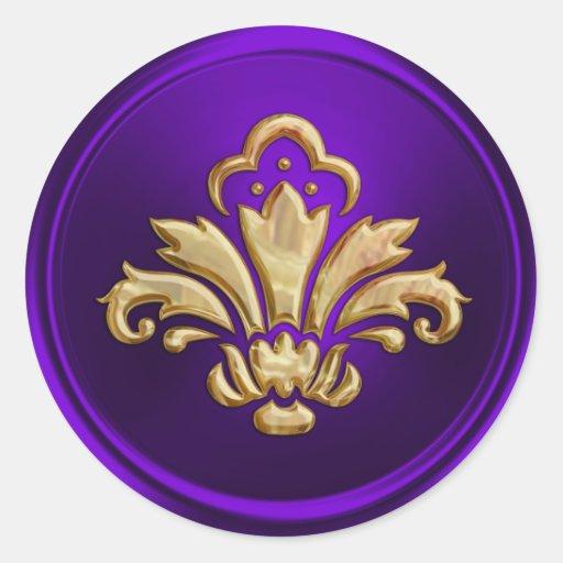 Mirada grabada en relieve sello púrpura del sobre  pegatinas redondas
