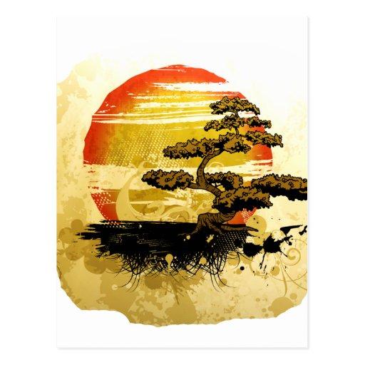 Mirada gráfica del Grunge de los bonsais del vinta Tarjeta Postal
