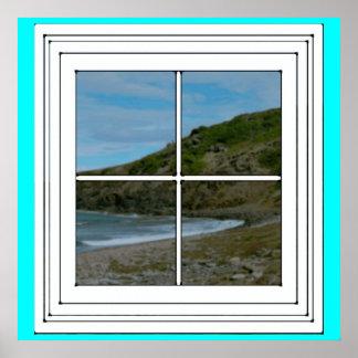 Mirada hacia fuera de la ventana póster