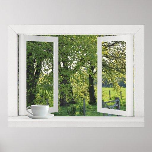 Mirada hacia fuera en el verde - opinión de ventan poster