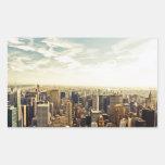 Mirada hacia fuera sobre el horizonte de New York Pegatina Rectangular