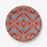 Mirada hecha punto geométrica azul anaranjada roja plato de papel 17,78 cm