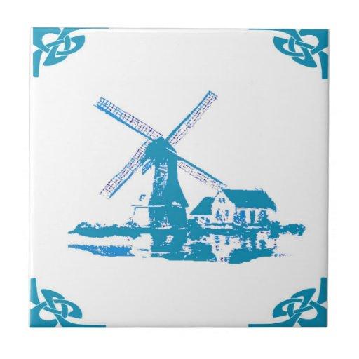 Mirada holandesa azul de Delft del molino de vient Azulejo Cuadrado Pequeño