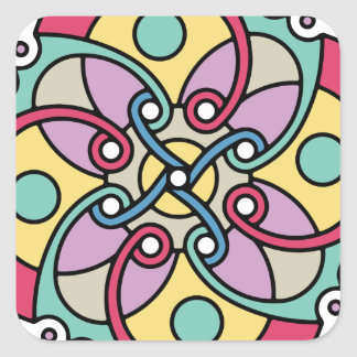 Mirada loca del estilo travieso de la flor de pegatina cuadrada