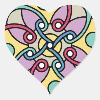 Mirada loca del estilo travieso de la flor de pegatina en forma de corazón